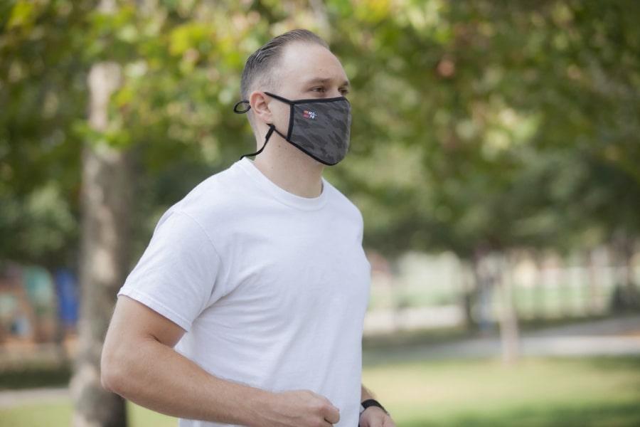 ケーアンドエヌ 2層式布フェイスマスク 2枚入り グレー
