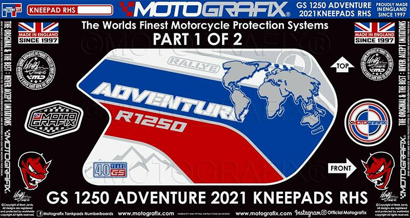 モトグラフィックス ボディパッド KNEE 右側 BMW R1250GS Adventure(40Years Rallye Special Edition) 21-