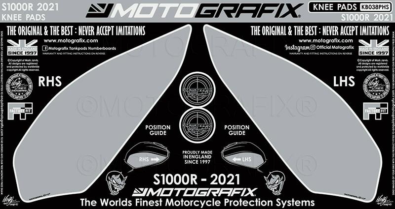 モトグラフィックス ボディパッド KNEE BMW S1000R Sport 21-(Hockenheim Silver Style)