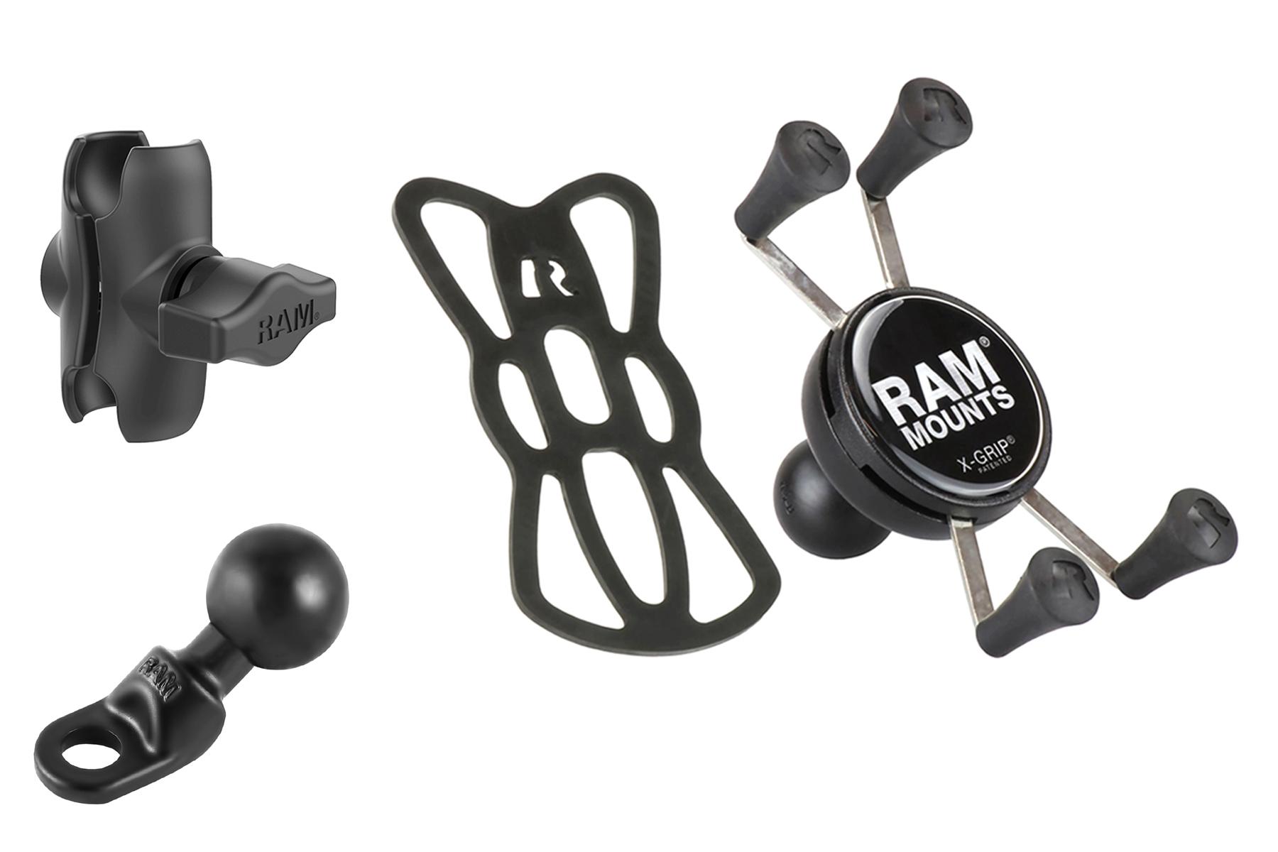 ラムマウント Xグリップ&ミラーフレームセット 9mm穴用 スマートフォン用 ショートアーム 1インチボール RAM-PL2