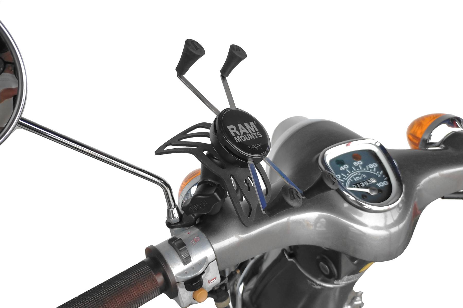 ラムマウント Xグリップ&ミラーフレームセット 9mm穴用 ファブレット用 ショートアーム 1インチボール RAM-PL3