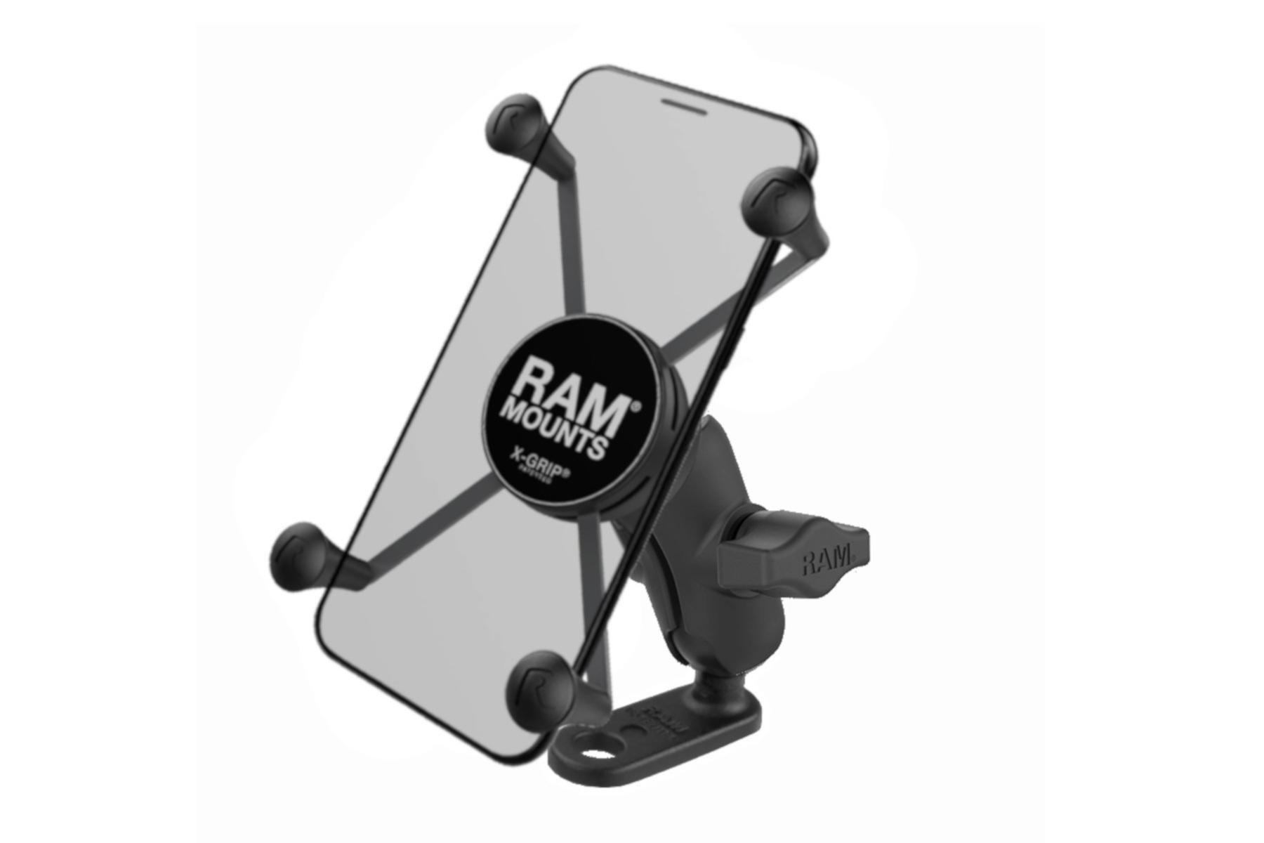 ラムマウント Xグリップ&ミラーフレームセット 11mm穴用ファブレット用 ショートアーム 1インチボール RAM-PL5
